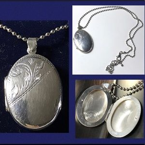 Antique Locket Sterling Silver Pendant + Gift Box